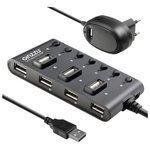 USB-концентратор Ginzzu GR-487UAB, разъемов: 7