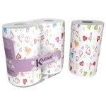Полотенца бумажные World Cart Kartika collection Love белые с рисунком двухслойные 70 л/рул