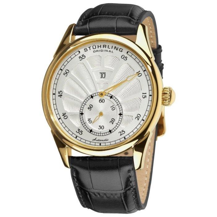 Описание stuhrling швейцарские мужские наручные часы stuhrling ; тип механизма: кварцевые; корпус: сталь с pvd покрытием; кожаный ремешок; способ отображения времени: аналоговый; цвет циферблата.