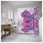 Штора JoyArty Орхидеи и бабочки 180x200