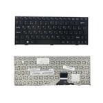 Клавиатура для ноутбука DNS 0121598, 0121595, Clevo M1110, M1111, M1115 Series. Г-образный Enter. Черная, с черной рамкой. PN: MP-08J66SU-430. (RU TOP-100525)