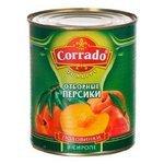 Консервированные персики Corrado половинки в сиропе, жестяная банка 850 г