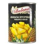 Консервированные ананасы Baleno кусочками в сиропе, жестяная банка 580 мл
