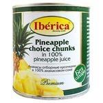 Iberica Консервированные ананасы отборные кусочками в собственном соку, жестяная банка 435 мл