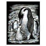 Гравюра KSG Пингвины серебристая основа