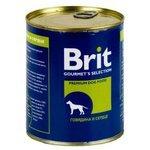 Корм для собак Brit (0.85 кг) 6 шт. Консервы для собак Говядина и сердце