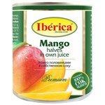 Iberica Консервированное манго половинками в собственном соку, жестяная банка 425 мл